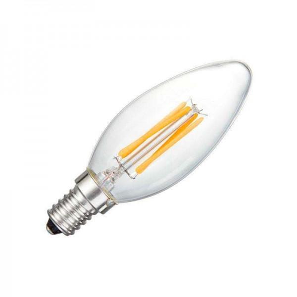 Lâmpada Filamento LED Vela E14 COB 4W Branco Quente 2700K Regulável - 8428350640677