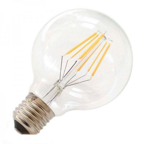 Lâmpada LED E27 COB Filamento 8W Diâmetro 80x118mm Branco Quente - 8428350640622