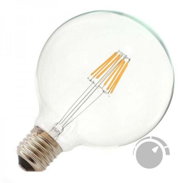 Lâmpada LED E27 COB Filamento 6W Diâmetro 95x138mm Branco Quente Regulável - 8428350640776