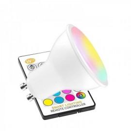 Lâmpada LED GU10 RGBW 5W + Comando a Distância RGB + Branco Frio Regulável - 8435568906570